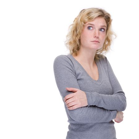 unlucky: Full isolated portrait of a unlucky caucasian woman Stock Photo
