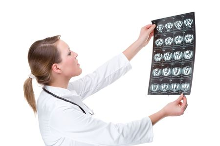 Full isolated portrait of a beautiful caucasian doctor with x-ray photo
