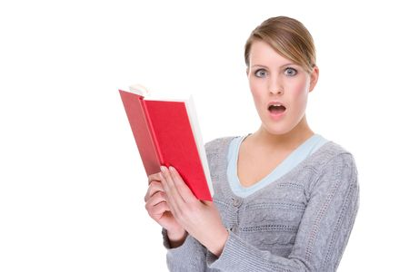 Full isolated portrait of a   caucasian woman with a red book photo