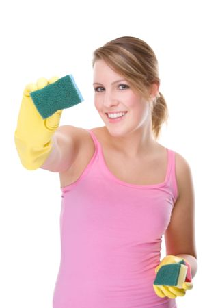 housewife gloves: Full isolated portrait of a beautiful caucasian woman with some cleaning equipment Stock Photo