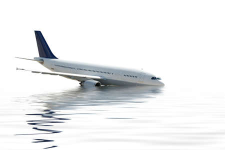 sinking: Aircraft crashing into the water Stock Photo