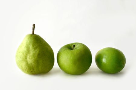 pear, apple and lime photo