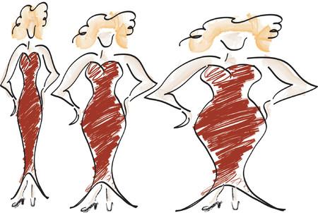 fatten: gala dressed woman, in three body weight