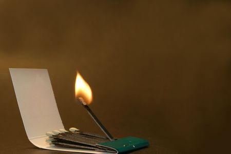 combust: burning match Stock Photo