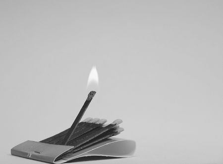 combust: burning matches