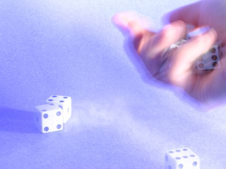 texturized: hand shaking dices over texturized blue background