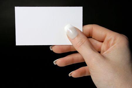 Feminine hand holding a blank card Stock Photo - 795459