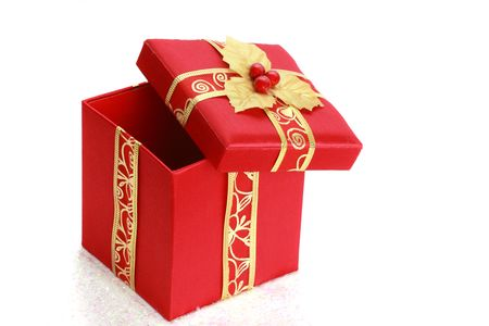 red christmas gift box, white background Stock Photo - 3860444