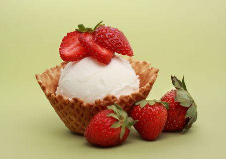 vanilla ice cream in a wafer basket