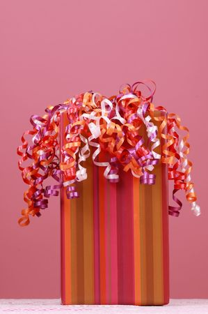 birthday gift box over pink background Stock Photo - 4709030