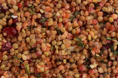 top view of green, red and brown lentil salad Stock Photo - 4817160