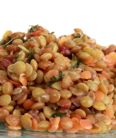 closeup on texture of lentil salad, white background Stock Photo - 4817159