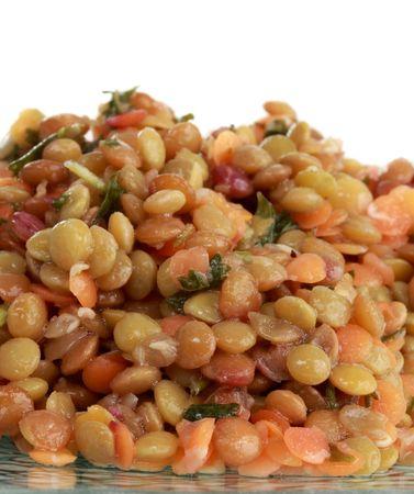 closeup on texture of lentil salad, white background Stock Photo - 4817159