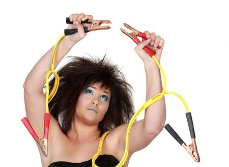 power cables: girl with yellow electric cable