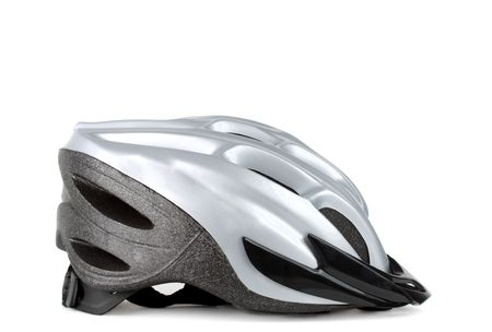 grey bicycle helmet isolated on white background Stock Photo - 5165514