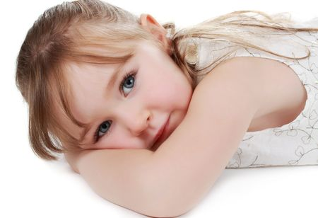 cute little blond girl isolated on white background Stock Photo - 5794837