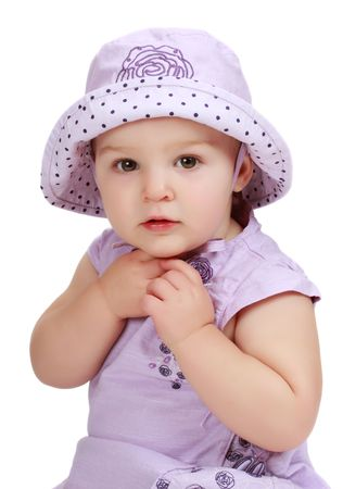 cute toddler girl wearing purple hat and dress Stock Photo - 5788549