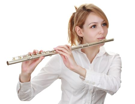beautiful blond woman holding a flute Stock Photo - 6031433