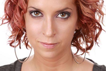 closeup portrait of a cute woman, white background Stock Photo - 6238309