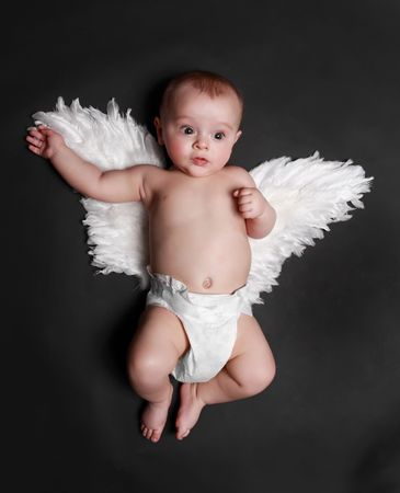 baby angel: portrait of a cute baby boy wearing fake angel wings, black background