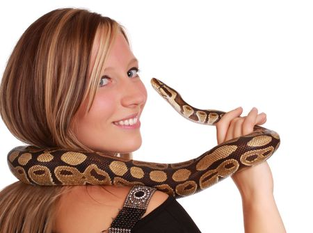 cute blond woman holding a Royal Python snake Stock Photo - 7206456