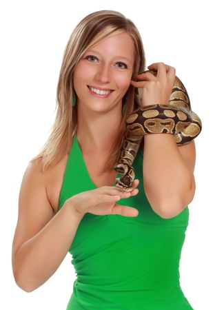 cute blond woman holding a Royal Python snake Stock Photo - 7206454