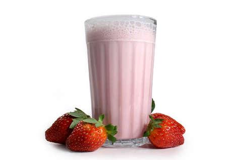 stirred: strawberry milkshake with fresh fruit isolated on white background