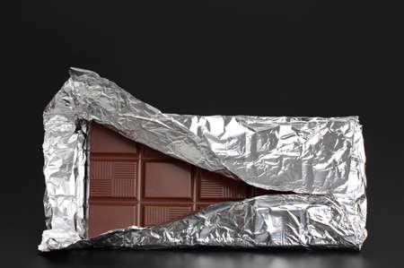 aluminium: big chocolate bar in aluminium wrapping