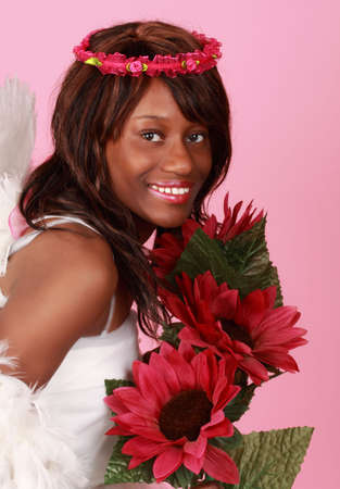 fake smile: beautiful young black woman, fake flower and crown