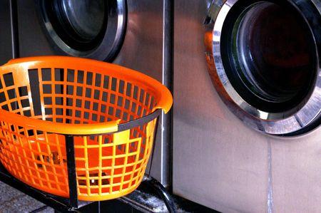 launderette: Clothes Basket Stock Photo