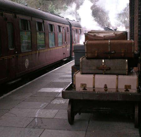 railway platform: Steam Train Platform Stock Photo