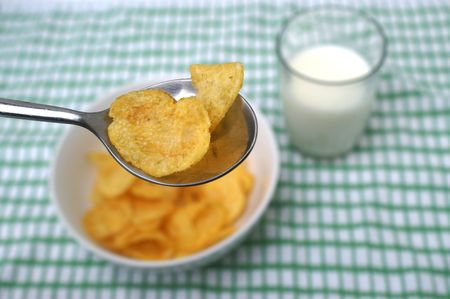 childhood obesity: unhealthy Breakfast  Stock Photo