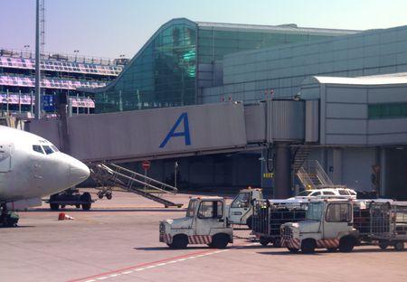 handlers: Airport Infrastructure Stock Photo