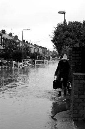 downpour: Flooded Street Stock Photo