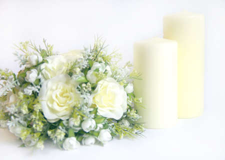 alter: church candles and alter flowers