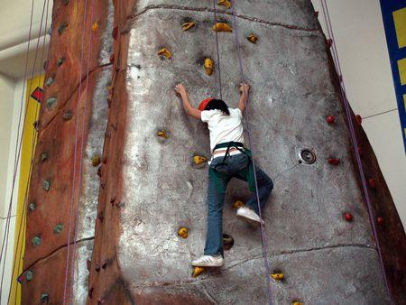 indoors: Rock climber