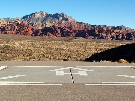 alpine zone: Helicopter pad in the desert Stock Photo