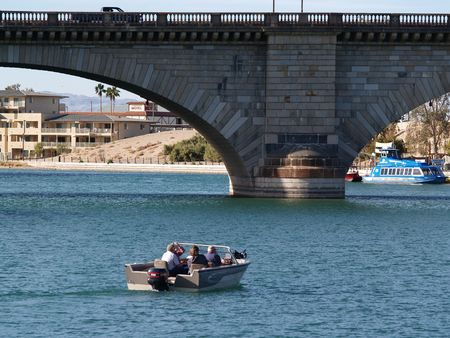 relocated: Boat at London Bridge Stock Photo