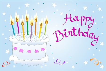 A birthday cake full of multicolored candles Stock Photo - 677648