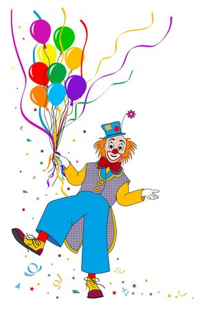 clowning: Clown with balloons on white backgrounds Stock Photo