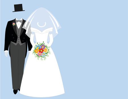 tux: Bride and groom - blue Illustration