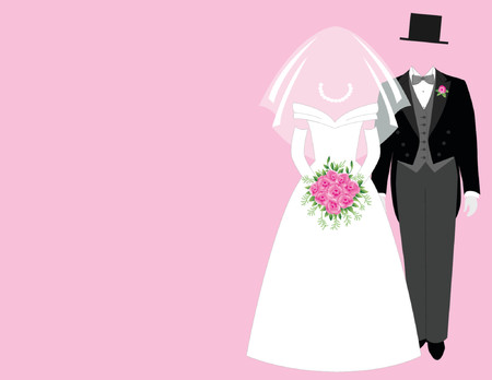 Bride and groom - pink Illustration