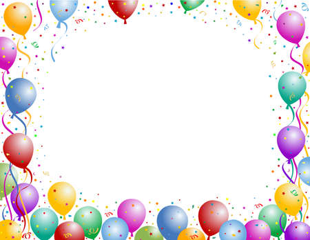 birthday invitation: balloons party frame