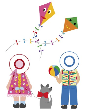 naive: Cute boy and girl with dog and flying kite Illustration