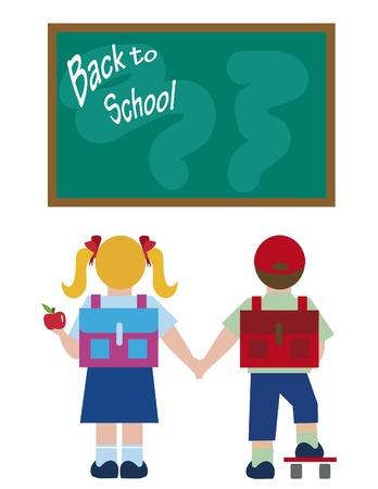 Cute boy and girl - Back to school
