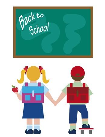 Cute ragazzo e una ragazza - Ritorno a scuola