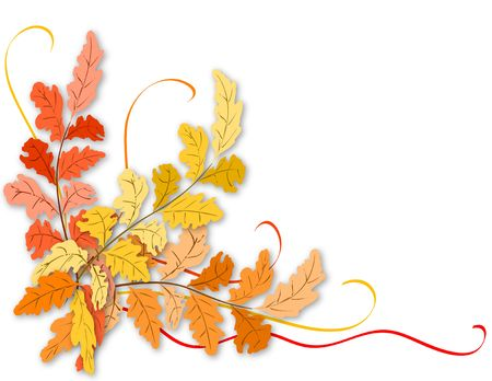 fall harvest: Autumn leaves with ribbon - Thanksgiving
