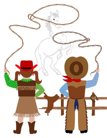 country girl: Cowboy and cowgirl catching the horse with lasso Stock Photo