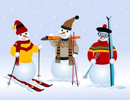 Three snowmen on skiing
