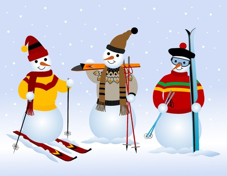 winter sport: Three snowmen on skiing
